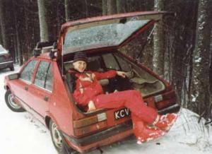 Skier sitting in Nissan